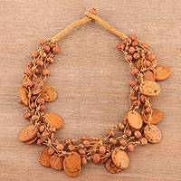 Bone torsade necklace, 'Tribal Charm in Brown' - Bone Beaded Torsade Necklace in Brown from India