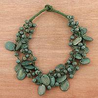 Bone torsade necklace, 'Tribal Charm in Green' - Bone Beaded Torsade Necklace in Green from India