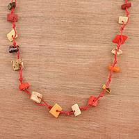 Bone beaded long necklace, 'Vibrant Bohemian' - Bone Beaded Long Necklace from India