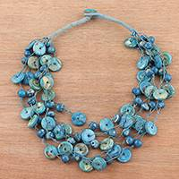 Bone torsade necklace, 'Sea Rings' - Bone Beaded Torsade Necklace in Blue from India