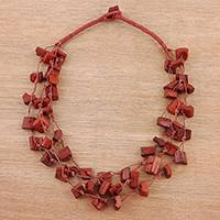Bone beaded necklace, 'Stylish Bohemian in Red' - Bone Beaded Torsade Necklace in Red from India