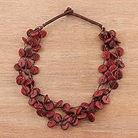 Wood torsade necklace, 'Maroon Rings' - Wood Beaded Torsade Necklace in Red from India