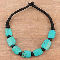 Bone beaded necklace, 'Turquoise Delight' - Bone Beaded Necklace in Green from India