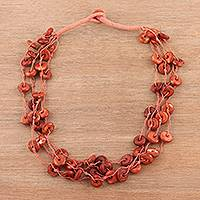 Bone torsade necklace, 'Fiery Rings' - Bone Beaded Torsade Necklace Crafted in India