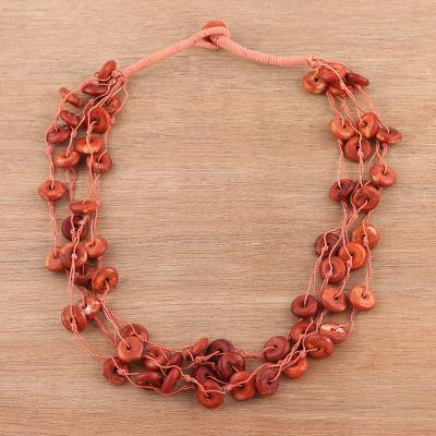Bone torsade necklace, Fiery Rings