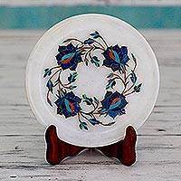 Marble inlay decorative plate, 'Blue Garland' - Blue Floral Motif Marble Inlay Decorative Plate from India