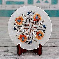Marble inlay decorative plate, 'Summer Roses' - Rose Motif Marble Inlay Decorative Plate from India