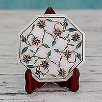 Marble inlay decorative plate, 'Tiger Lilies' - Tiger Lily Motif Marble Inlay Decorative Plate from India