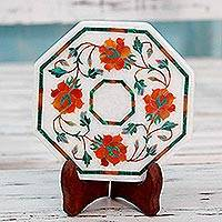 Marble inlay decorative plate, 'Bright Carousel' - Marble Inlay Decorative Plate in Red and Orange from India