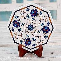 Marble inlay decorative plate, 'Carousel of Roses' - Floral Motif Marble Inlay Decorative Plate from India