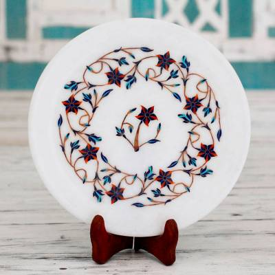 Marble inlay decorative plate, 'Floating Daffodils' - Red Floral Motif Marble Inlay Decorative Plate from India
