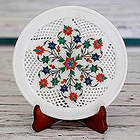 Marble inlay decorative plate, 'Cool Ivy' - Star Pattern Marble Inlay Decorative Plate from India