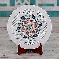 Marble inlay decorative plate and stand, 'Floral Waltz' - Handcrafted Marble Inlay Decorative Plate from India