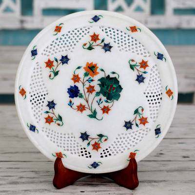 Marble inlay decorative plate, 'Summer Bouquet' - Indian Marble and Gemstone Inlay Plate and Stand