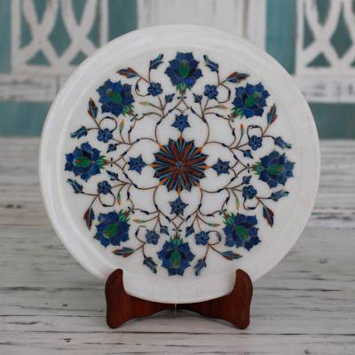 Marble inlay decorative plate, 'Floral Burst' - Intricate Marble Inlay Decorative Plate from India