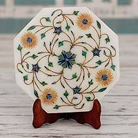Marble inlay decorative plate, 'Summer Bloom' - Marble Inlay Decorative Plate with Floral Motifs from India
