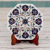 Marble inlay decorative plate, 'Floral Imagination' - Marble Inlay Decorative Plate with Blue Floral Motifs