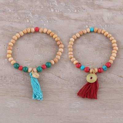 Wood and bone beaded stretch bracelets, 'Happy Bohemian' (pair) - Wood and Bone Beaded Stretch Bracelets from India (Pair)