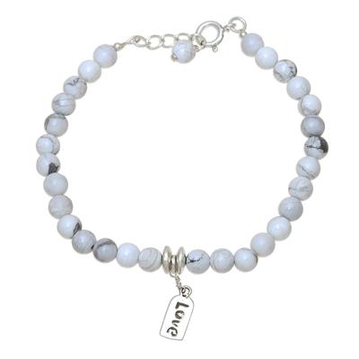 Howlite beaded bracelet, 'Love Elegance' - Love-Themed Howlite Beaded Bracelet from India