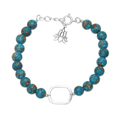 Sterling silver and composite turquoise beaded pendant bracelet, 'Blissful Globes' - Sterling Silver and Composite Turquoise Bracelet from India