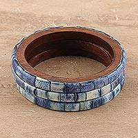 Bone and mango wood bangle bracelets, 'Blue Saga' (set of 3) - Blue Bone and Mango Wood Bangle Bracelets (Set of 3)