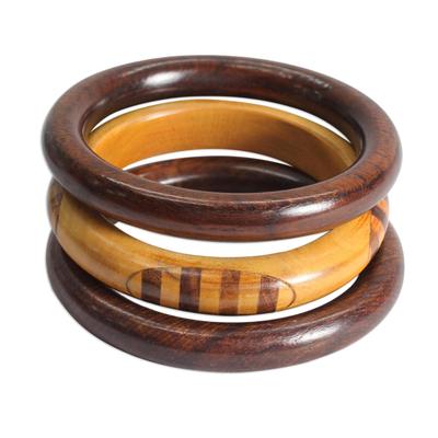 Handmade Mango Wood Bangle Bracelets from India (Set of 3)