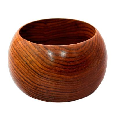 Hand-Carved Mango Wood Bangle Bracelet from India