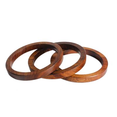 Set of 3 Hand-Carved Mango Wood Bangle Bracelets from India