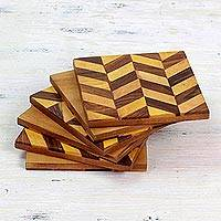 Wood marquetry coasters, 'Diagonal Elegance' (set of 6) - Diagonal Motif Mango Wood Coasters from India (Set of 6)