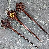 Mango wood hair pins, 'Sunshine Trio' (set of 3)