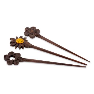 Mango wood hair pins, 'Sunshine Trio' (set of 3) - Floral Mango Wood Hair Pins Crafted in India (Set of 3)