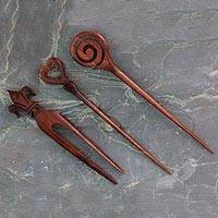 Mango wood hair pins, 'Trio Delight' (set of 3)