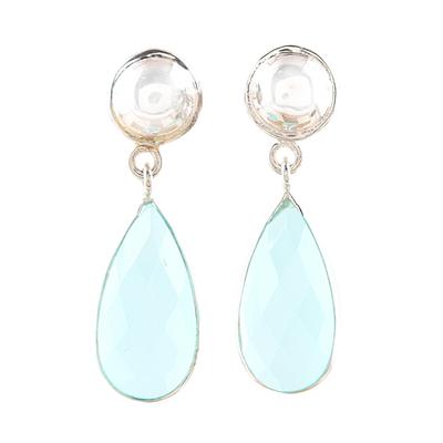 10-Carat Aqua Chalcedony Dangle Earrings from India