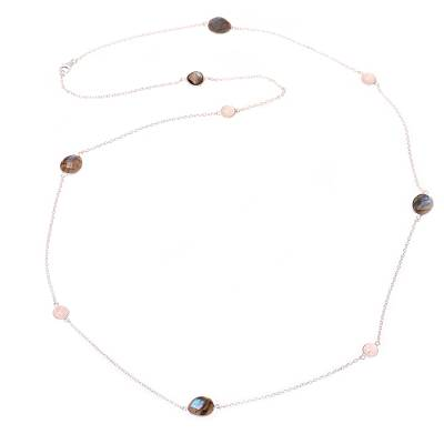Labradorite and Rose Quartz Station Necklace from India