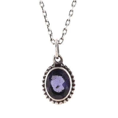 Iolite Pendant Necklace Crafted in India