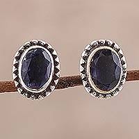 Iolite stud earrings, 'Magical Gems' - Iolite Stud Earrings Crafted in India