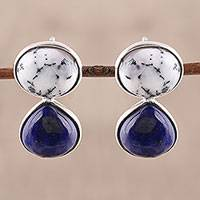 Lapis lazuli and agate drop earrings, 'Pure Majesty' - Lapis Lazuli and Agate Drop Earrings from India