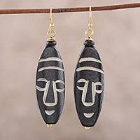 Bone dangle earrings, 'Delightful Masks' - Mask-Themed Bone Dangle Earrings from India