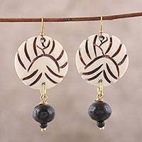 Bone dangle earrings, 'Round Allure' - Handmade Round Bone Dangle Earrings from India