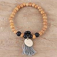 Bone beaded stretch bracelet, 'Blissful Bohemian' - Bone Beaded Stretch Bracelet from India