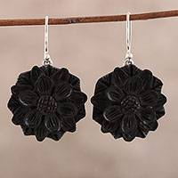Wood dangle earrings, 'Exotic Sunflower' - Sunflower Ebony Wood Dangle Earrings from India