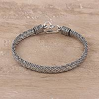 Sterling silver chain bracelet, 'Basket Classic' - Sterling Silver Basketweave Chain Bracelet from India