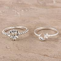 Sterling silver band rings, 'Heavenly Combination' (pair) - Floral and Moon Sterling Silver Band Rings (Pair)
