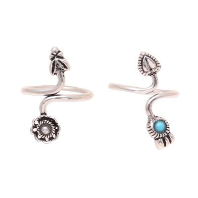 Cultured pearl and sterling silver toe rings, 'Twin Glory' - Cultured Pearl and Sterling Silver Toe Rings from India