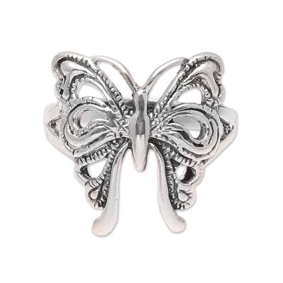 Sterling silver band ring, 'Butterfly Companion' - Butterfly Sterling Silver Band Ring from India