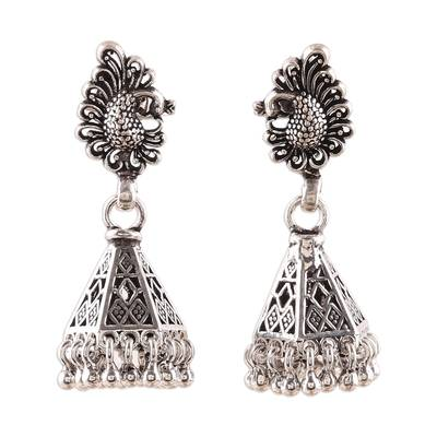 Sterling silver chandelier earrings, 'Peacock Paisley' - Peacock Jhumki Sterling Silver Earrings from India