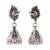 Sterling silver chandelier earrings, 'Peacock Paisley' - Peacock Jhumki Sterling Silver Earrings from India thumbail