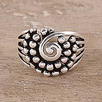 Sterling silver band ring, Modern Swirl