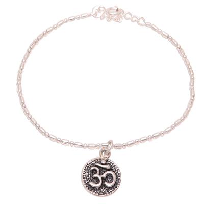 Sterling silver chain bracelet, 'Om of Peace' - Sterling Silver Om Bracelet Crafted in India