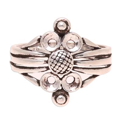 Sterling silver band ring, 'Wonderful Loops' - Loop Pattern Sterling Silver Band Ring Crafted in India